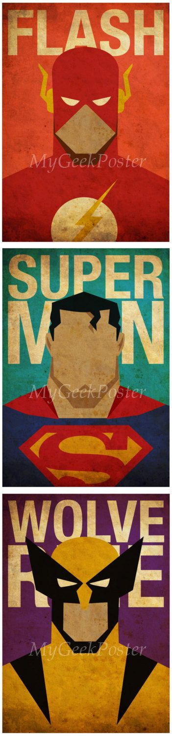 Minimalist Superheroes Vintage Poster Set of 6 by MyGeekPosters