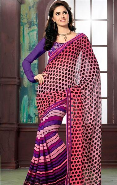 Gorgeous Maroon Designer Georgette Saree HSPCHAN519 - www.indianwardrobe.com