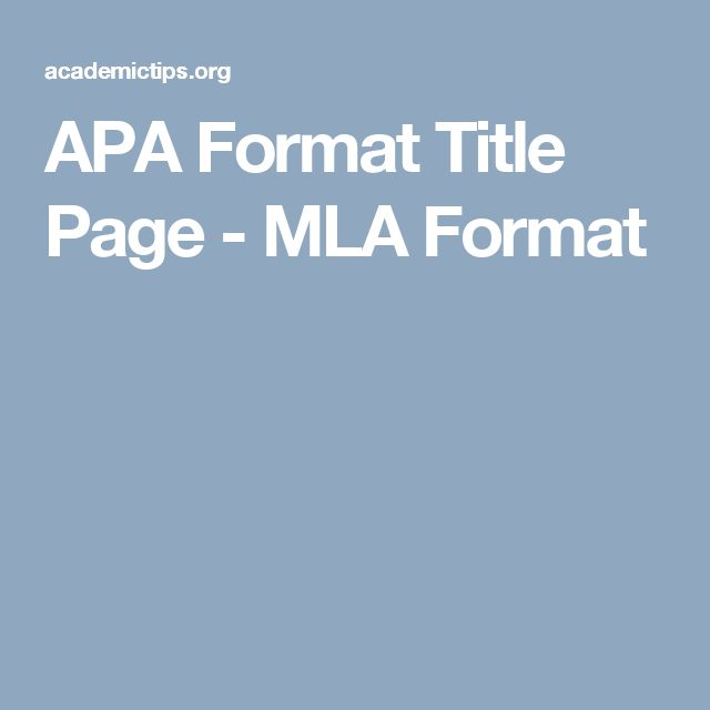 title page for apa