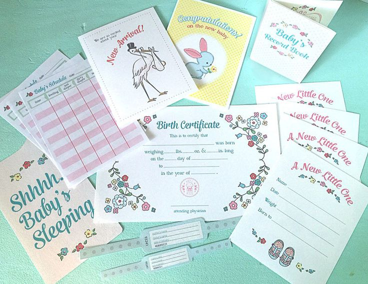 Pretend Play BRINGING HOME BABY Printables- Instant Pdf Download- little mommy, dolls, record book, feeding chart, birth certificate, cards by amyjkids on Etsy https://www.etsy.com/listing/236979228/pretend-play-bringing-home-baby