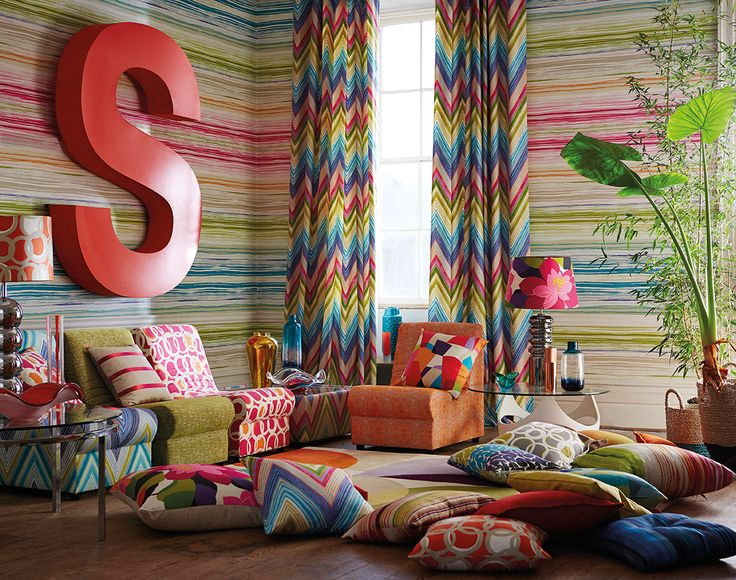 Mix clashing colours and designs for the real WOW factor. Fabrics and wallpapers from our Soul collection.