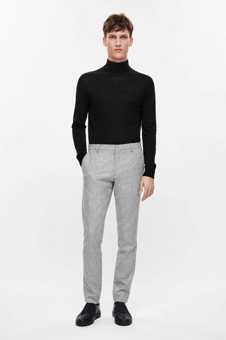 COS image 6 of Slim wool trousers in Light Grey