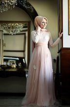 Meerjungfrau Hoher Kragen Lange Ärmel Rosa Farbe Mit Hijab Stickerei Bodenlangen Langarm-muslimischen Teuer Abendkleid //Price: $US $134.75 & FREE Shipping //     #abendkleider