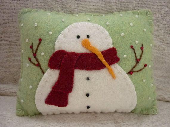 Felt Snowman Pillow Primitive Wool Applique by pennysbykristie