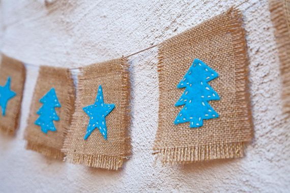 Natural burlap and felt Christmas garland  Christmas by OSProjects, $24.00