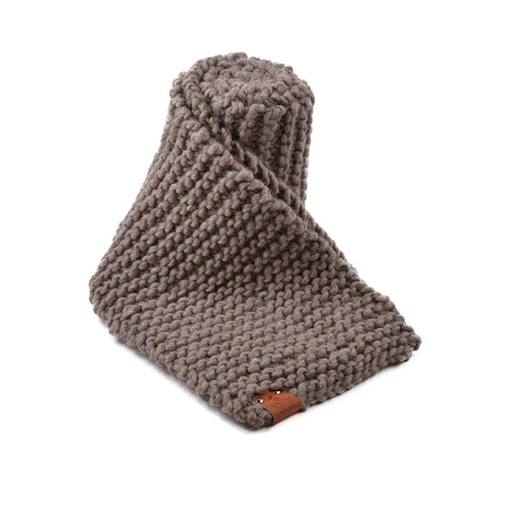 Grof gebreide sjaal, Taupe