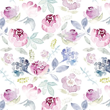 Watercolour Florals Vintage Faded Style on White fabric by sylviaoh on Spoonflower - custom fabric