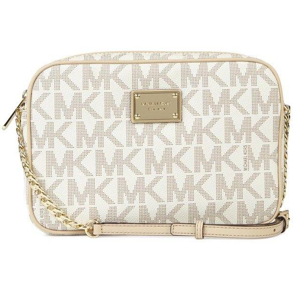 Michael Kors Jet Set Cream Monogrammed Cross-body Bag ($49) ? liked on