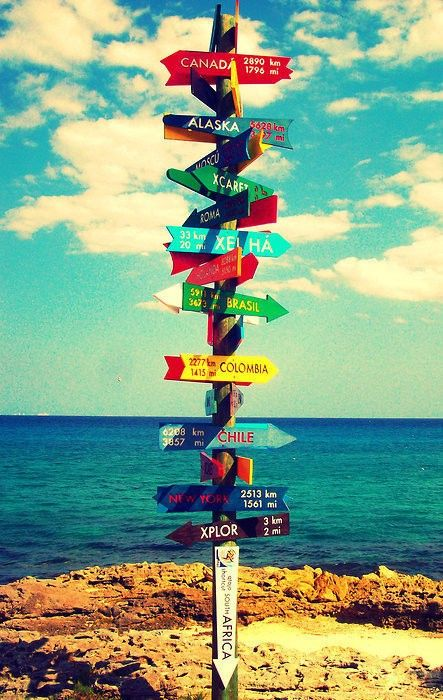 Let's go adventuring. Outside signpost with lots of colourful signs to different