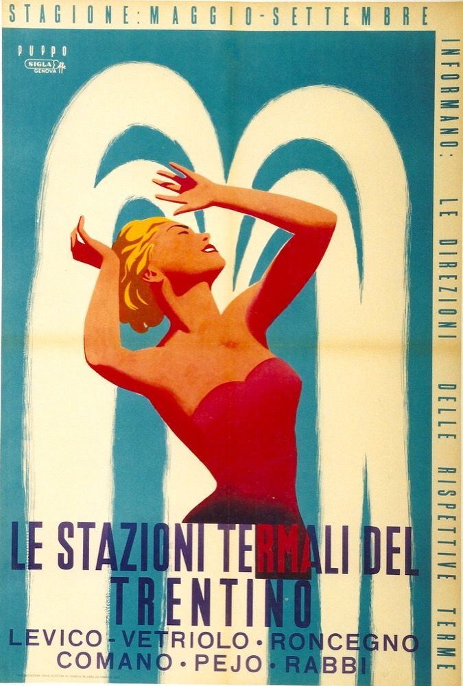 1954 Trentino Hot Spring Spas resorts, Italy vintage travel poster
