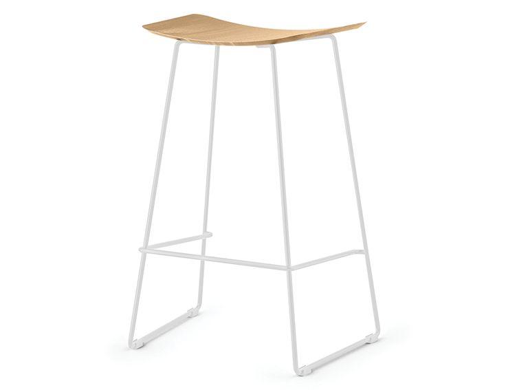 Winnie Stool - White Frame With Solid European Oak Seat