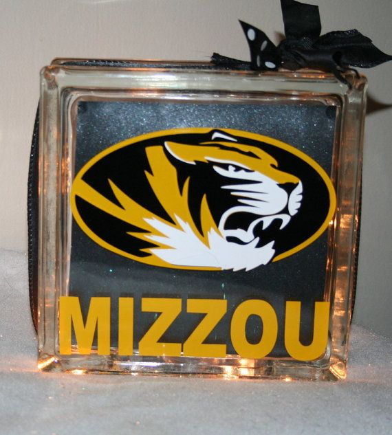 MIZZOU Lighted Decor Block Night Light Fathers Day Home Bleed Black Gold Personalize