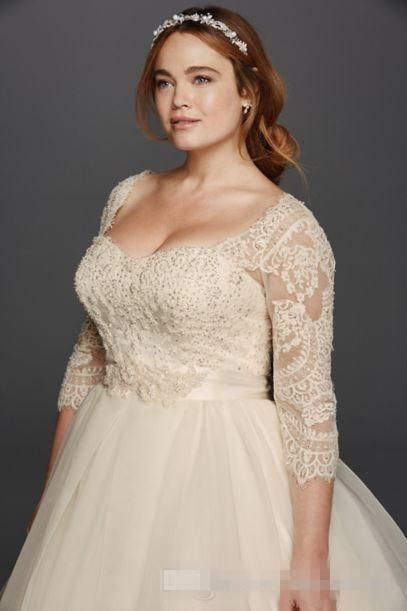 Discount Oleg Cassini Light Champagne Lace Plus Size Wedding Dresses ...