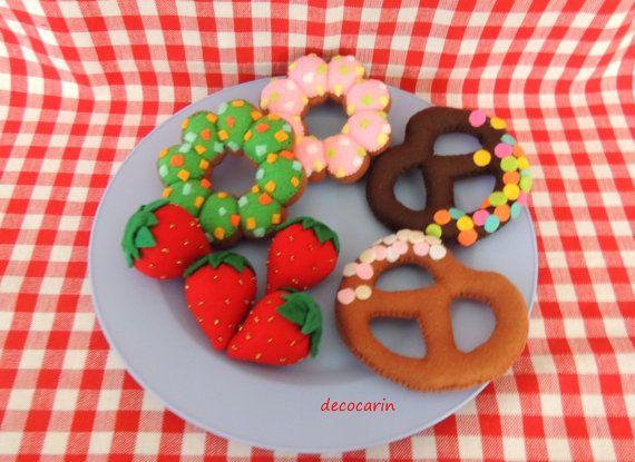 Felt Food Felt Donuts Felt Pretzels Felt Strawberries by decocarin