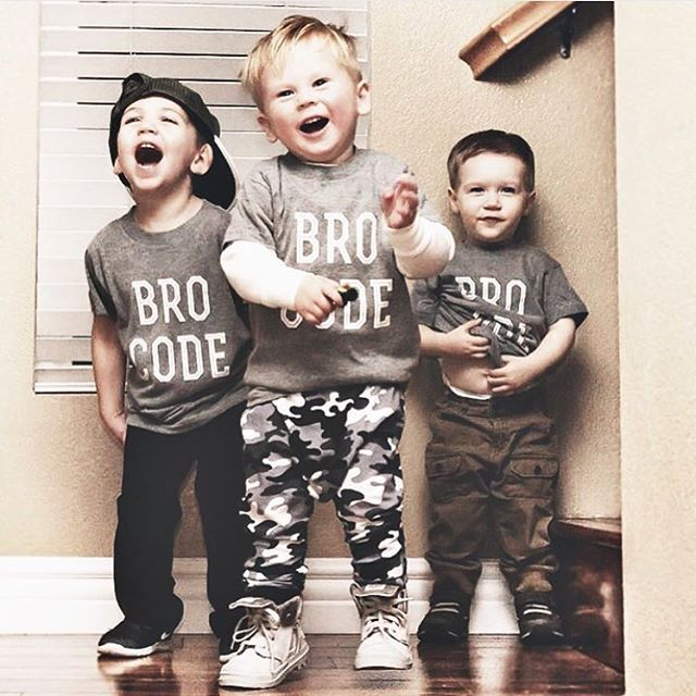 Bro Code kids tees - Little Beans Clothing. Squad goals, baby boy fashion, hipster kids, fashion kids, boys will be boys.