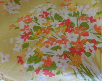 Vintage Double Size Full Size Sheet Set Burlington House 1960s to 1970s Flowers Yellow/Orange/Green/White/Red Fitted/Flat/2 Pillowcases
