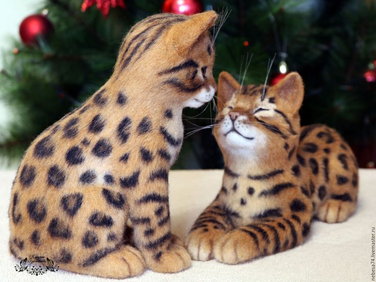 Купить Бенгальские котята (игрушки из войлока, валяние) - котенок, котенок из шерсти, валяный котенок, кот
