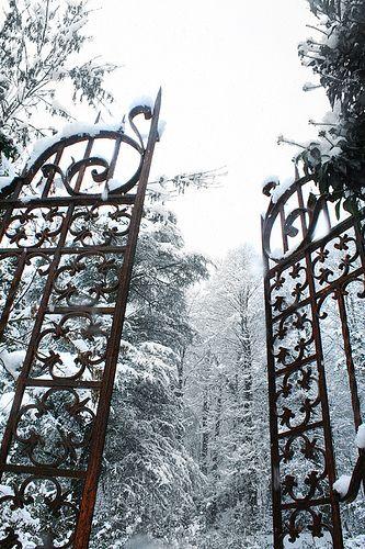 Doors, Gates Landscapes, Beautiful Gates, Winter Wonderland, Gardens Gates, Grey Soul, Beautiful Blog, Snow Covers, Iron Gates