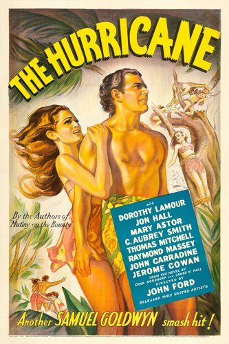 "Movie Posters:Adventure, The Hurricane (United Artists, 1937). One Sheet (27"" X 41"") directed by Hollywood legend John Ford stars Dorothy Lamour and Jon Hall. It's remembered most for the final twenty minutes, which is a masterpiece of early special effects wizardry by guru James Basevi."