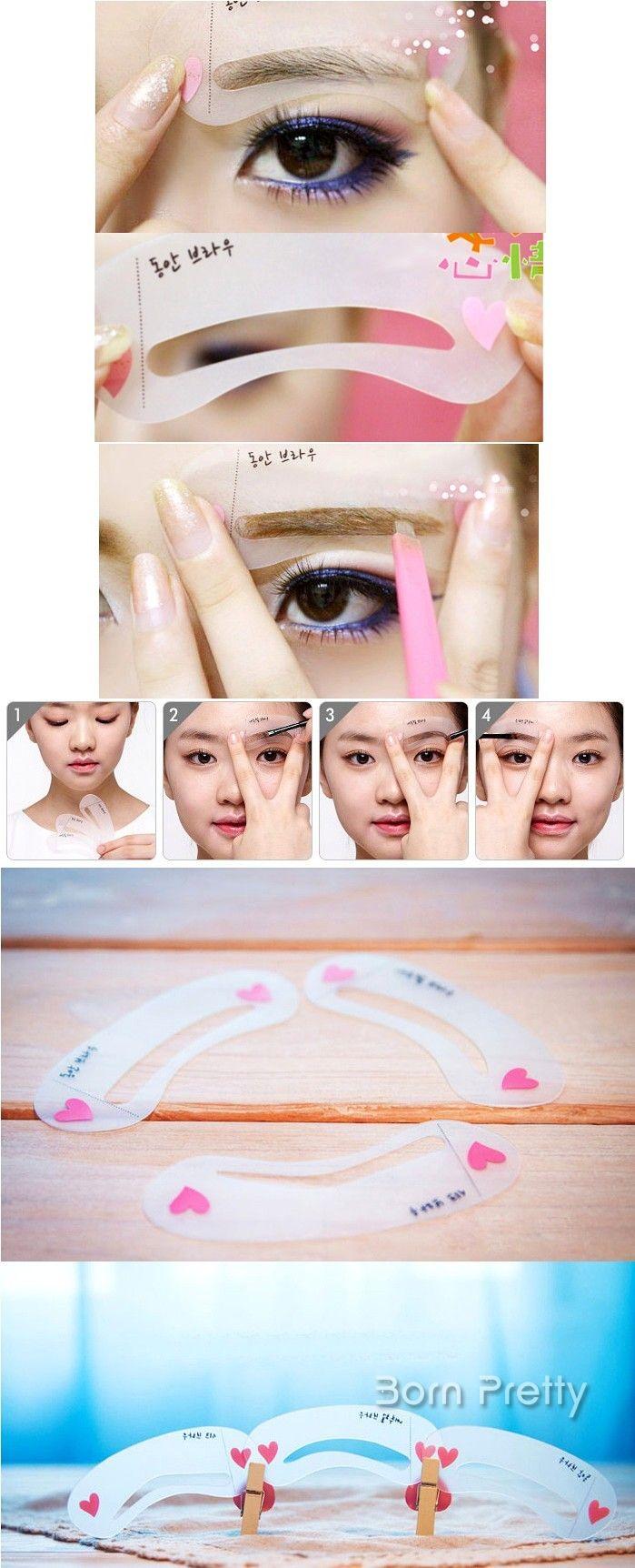 $2.93 3Pcs/Set Brow Class Drawing Guide Eyebrow Template Plastic Makeup Shaping DIY Beauty Tool - BornPrettyStore.com