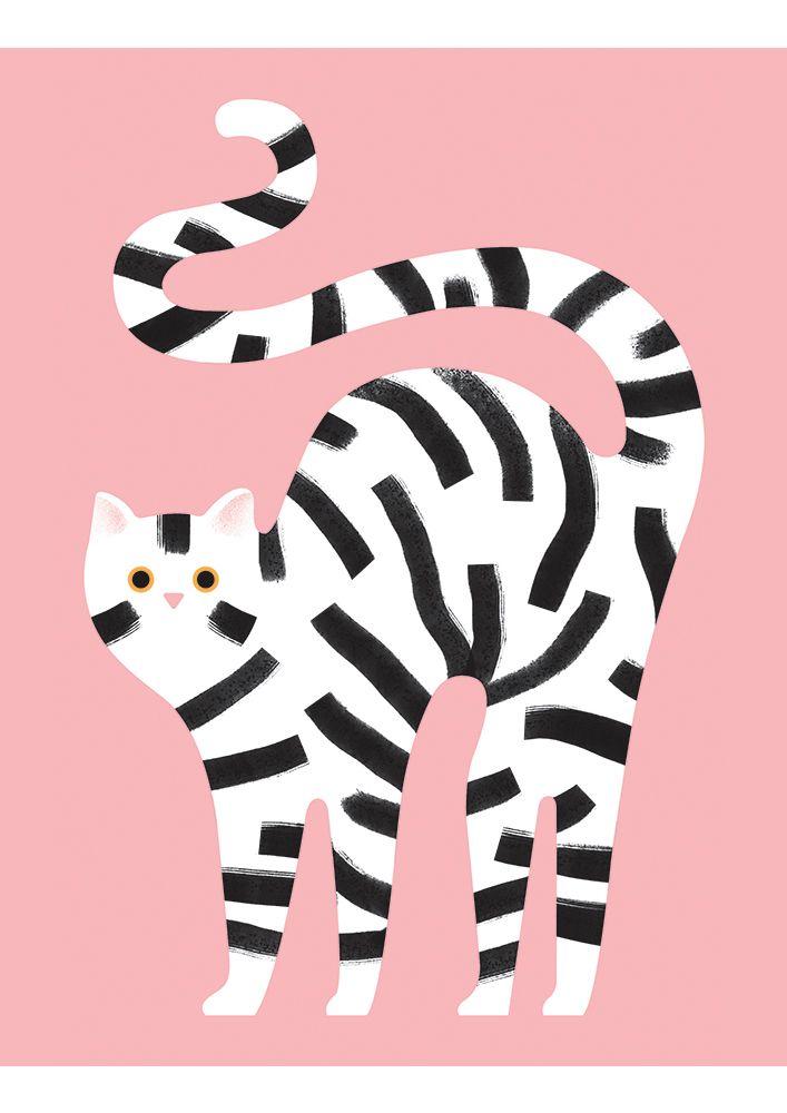 Giacomo Bagnara cat Illustration | Katzen illustration Poster fürs Kinderzimmer