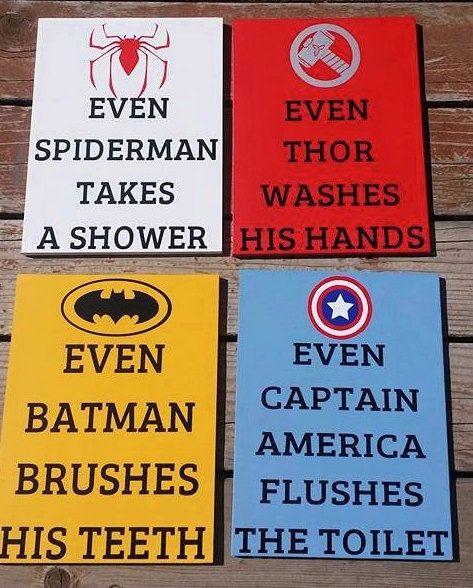 Superhero Bathroom Signs, Bathroom Decor, Set of 4, Wood Sign, Bathroom Decor, Kids Bathroom, Batman, Spiderman, Captain America, Thor