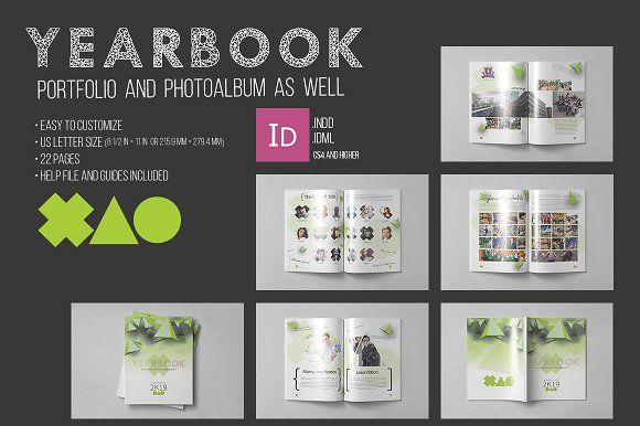 yearbook template templates creative market