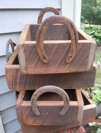 Nail some old horseshoes to wooden boxes and look how cute! Bif this would be an adorbs card box. Or centerpieces... put mason jars with flowers in it?