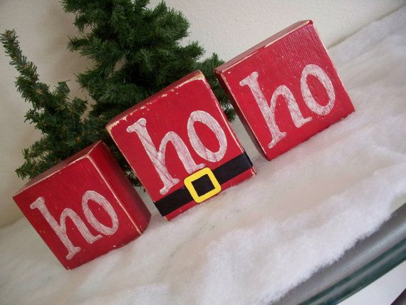 Hand Painted Wooden Christmas Decoration, Red and White Ho Ho Ho Sign