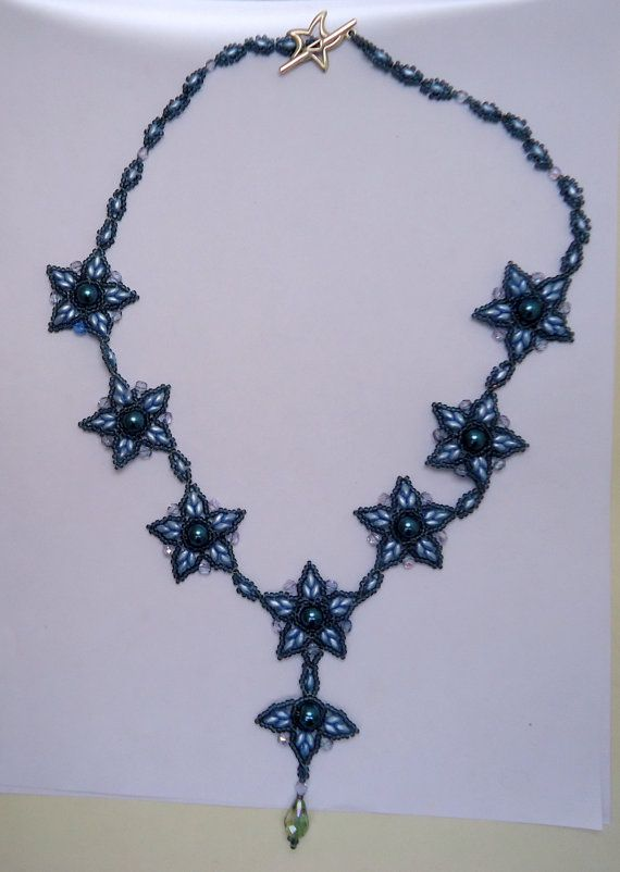 Beaded necklace blue star necklacepearl by JoolsbyAveril on Etsy