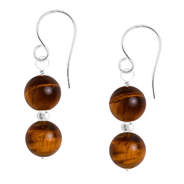 Raya Gemstone Earrings - Tiger's Eye is one of my abolutely favourite gemstones. I love the warm glow of the deep chocolate background and the way the light catches the warm honey and rich russet highlights. These stones almost seem alive.  Two captivating 6mm Tiger's Eye gemstones separated by a dainty sterling silver bead are suspended from a sterling silver hook. An elegant classic look.