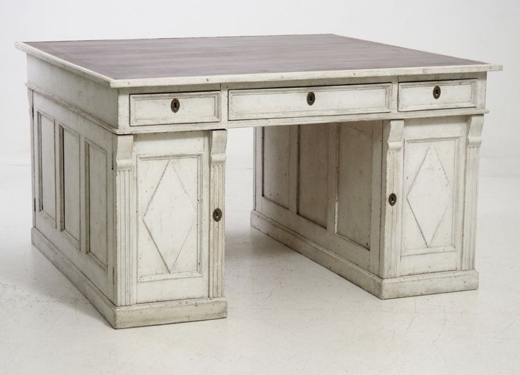 Freestanding Swedish Partners Desk with Leather Inlaid