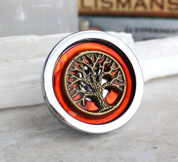 orange drawer pull dresser hardware cabinet by NatureWithYou