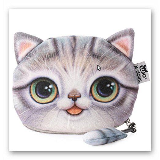 Flauschiger Geldbeutel (Geldbörse/Münzbörse) für junge Frauen & Mädchen / Damenportemonnaie mit süßem Katzenmotiv (Animal Print) inkl. Katzenohren und Schwänzchen (Reißverschluss) (Braun): Amazon.de: Koffer, Rucksäcke & Taschen