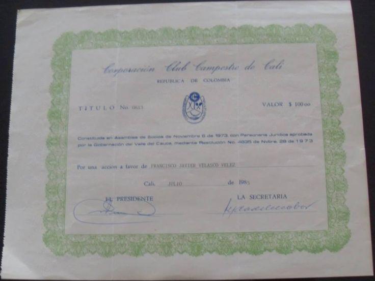 ACCIÓN CLUB CAMPESTRE DE CALI PERTENECIENTE A FRANCISCO JAVIER VELASCO VÉLEZ.