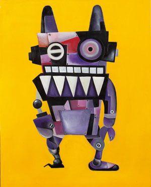 rabbit robot form Alice's Adventures in Wonderland, oil on canvas, 100×80.3, 2012