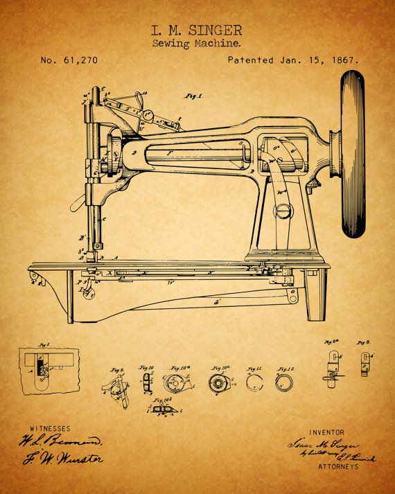 Sewing Machine 1867 Patent Print - Instant Download. Digitally Remastered.  No need to wait. Instantly download and use.   Image sizes 8 x 10 - 300dpi  You will receive :  5 Different High Resolution JPG files at 300 dpi - Blueprint - Black chalkboard - Slate Gray - Vintage Paper - Simple Classic White  You can use them as great desktop wallpapers. Print them at home. Hang them up in the craft room, sewing room, office or shop. They make great gifts. Mothers day, Birthday, Christmas, etc…