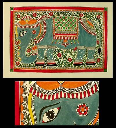 Indian Madhubani Folk Art Painting - Mighty Elephant | NOVICA