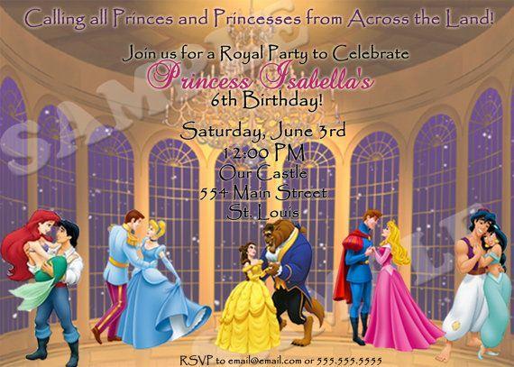 Disney Princess and prince Baby invitation | Disney Prince and Princess birthday by PrincessPeanut on Etsy, $10.00