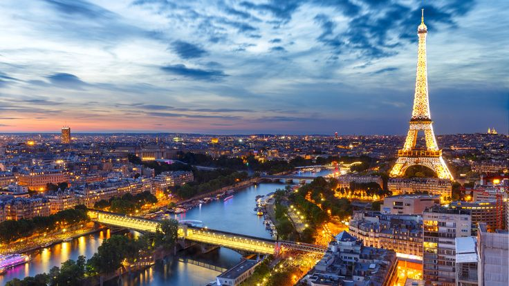 3840x2160、空、夕、フランス、エッフェル塔、パリ、上から、都市
