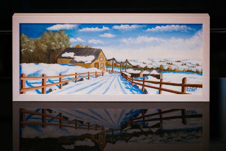 peisaj de iarna  ulei pe panza  20/50 cm 2014