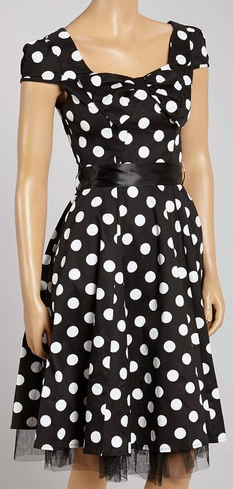 Black & White Big-Dot Bow A-Line Dress