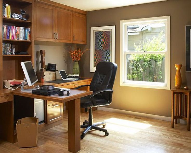 Brown And White Themed Cool Home Office Design With Simple Wood L Shaped  Office Desk On