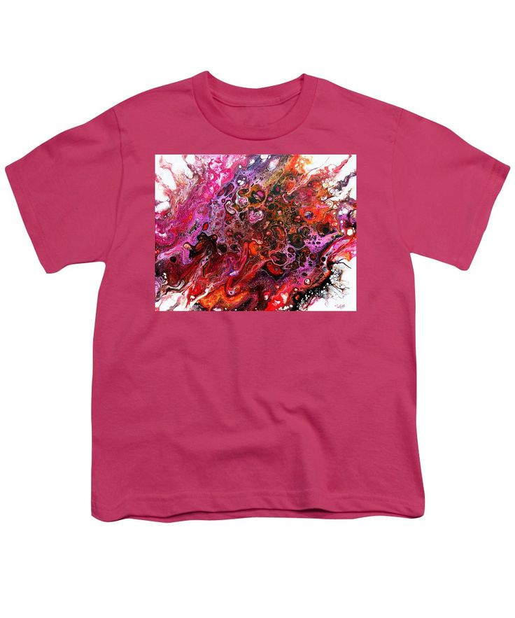 Original Abstract Fluid Art Canvas Organic Feeling Explosion Of Bright Vibrant Happy Pinks Oranges Yellows Purple And Dramatic Black Lacy Pattern Of Orbs Contemporary Dynamic And Fun Tendrils Youth T-Shirt featuring the painting #805 A Color Blast by Expressionistart studio Priscilla Batzell