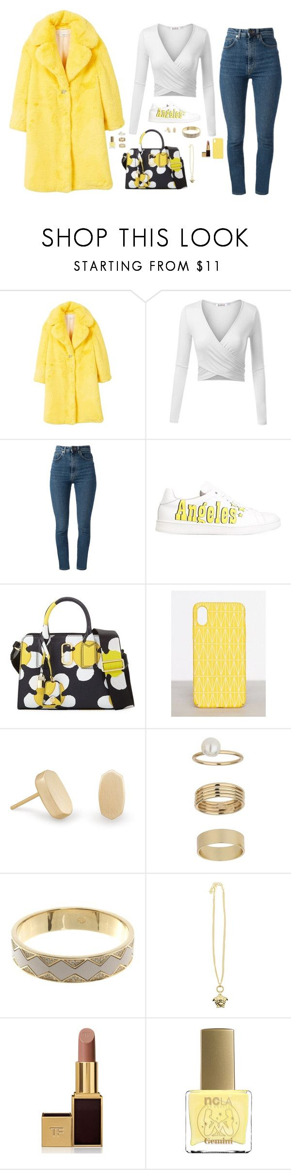 """Untitled #1559"" by nine-nine ❤ liked on Polyvore featuring MANGO, Yves Saint Laurent, Joshua's, Marc Jacobs, Dagmar, Kendra Scott, Miss Selfridge, House of Harlow 1960, Versace and Tom Ford"