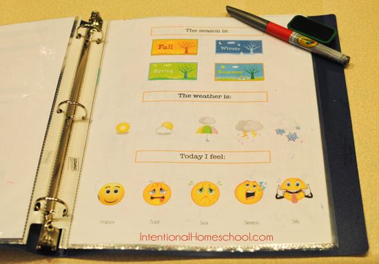 We use a daily calendar notebook in our homeschool preschool routine.
