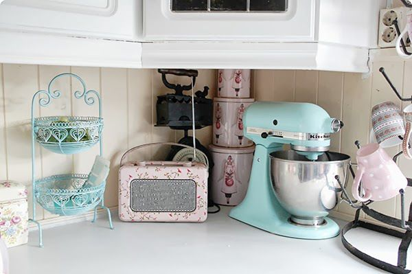 Beautiful pastel kitchen - what an adorable cake stand!