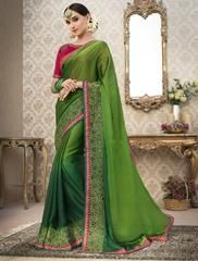 Green Color Wrinkle Chiffon Designer Party Wear Sarees : Tripsha Collection YF-64758