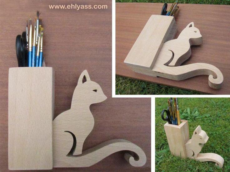 Pot à pinceaux ou crayons CHAT en bois de hêtre (chantournage)