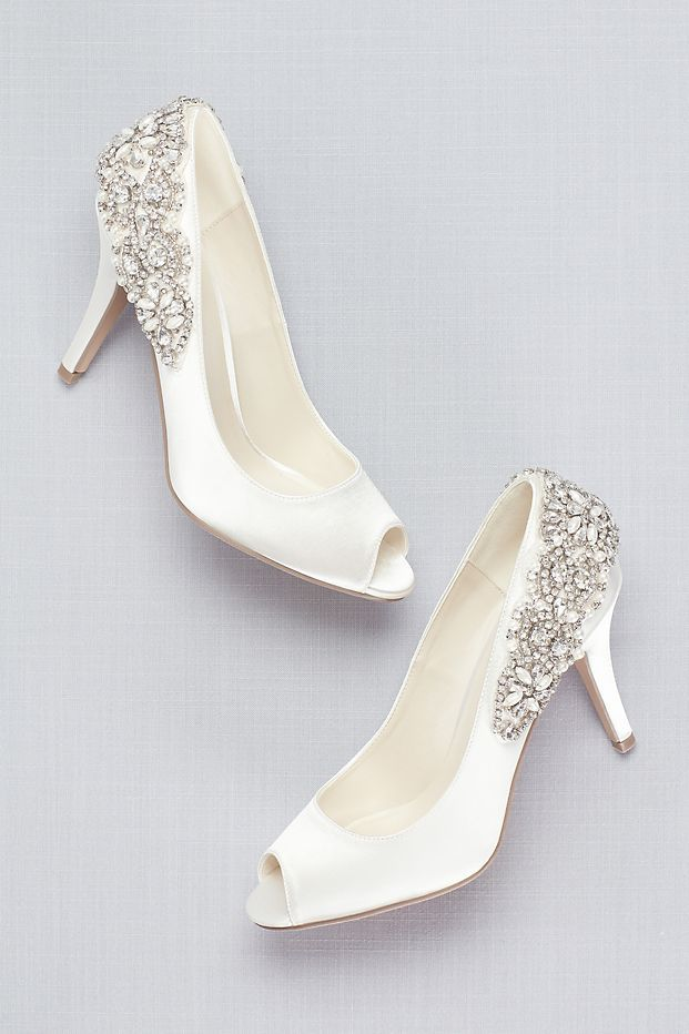 Crystal T Strap Satin Wedges David S Bridal Davids Bridal Shoes Bridal Shoes Wedges Wedge Wedding Shoes